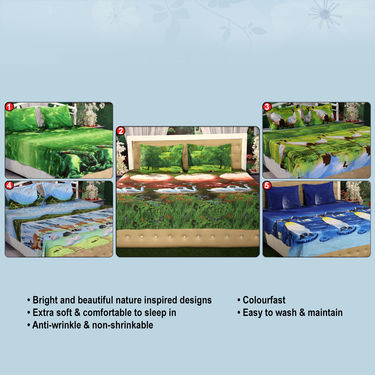 Joyful Pack of 5 - 3D Bedsheets with 10 Pillow Covers (5BS12)_Upsell_Ad home pune