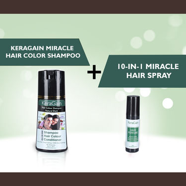 KeraGain Miracle Hair Color Shampoo & 10-in-1 Miracle Hair Spray with HDFC