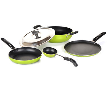 5 Pcs Coloured Induction Friendly Non Stick Cookware Set