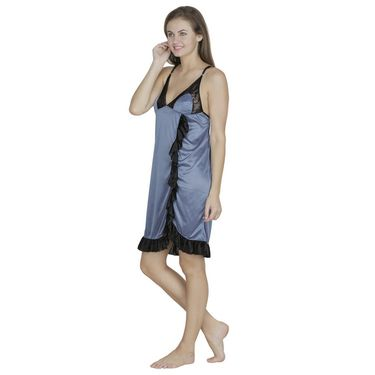 Klamotten Satin Plain Nightwear - Grey - Fu22_Grey