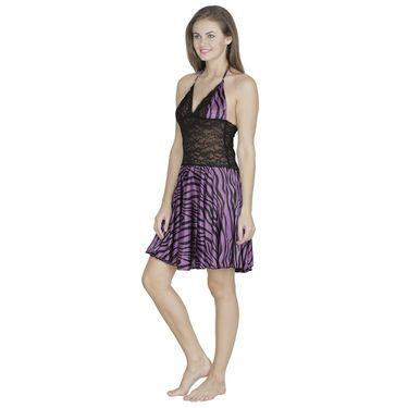 Klamotten Satin Plain Nightwear - Purple - X07_Tgr_Prpl