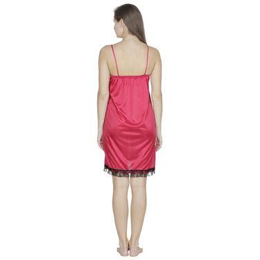 Klamotten Satin Plain Nightwear - Red - X151_Red