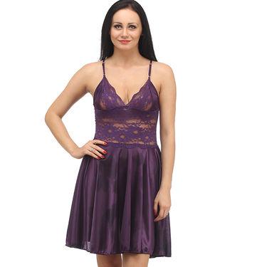 Klamotten Satin Plain Nightwear - Purple - YY08