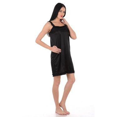 Klamotten Satin Plain Nightwear - Black - YY30