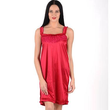 Klamotten Satin Plain Nightwear - Red - YY35