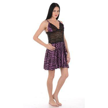 Klamotten Satin Animal Print Nightwear - Purple - YY50