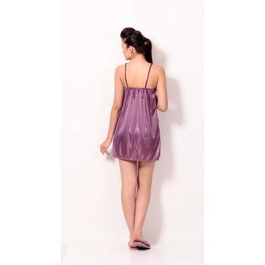 Klamotten Satin Plain Nightwear - Purple - YY57