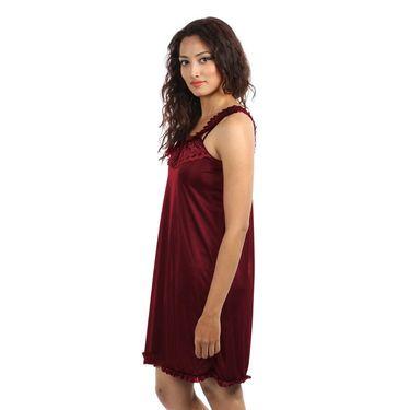 Klamotten Satin Plain Nightwear - Maroon - YY77