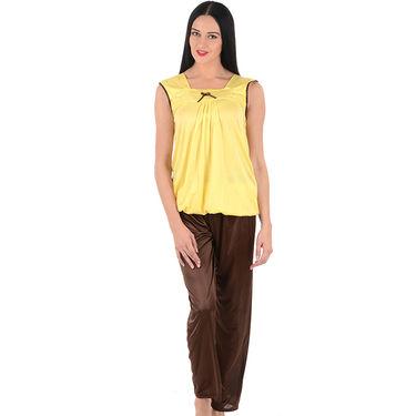 Klamotten Satin Plain Nightwear - Yellow - YY92