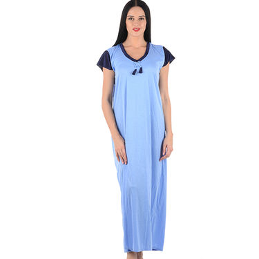 Klamotten Cotton Plain Nightwear - Turquoise - YY95