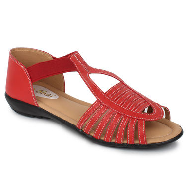 Do Bhai Faux Leather Sandals  Km-507-Red