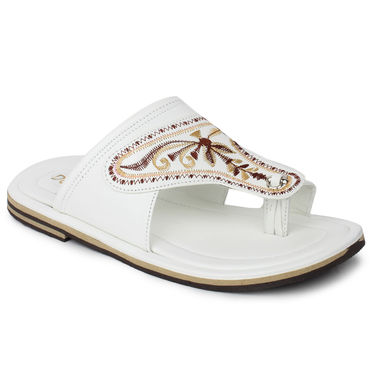 Do Bhai Synthetic Leather Ethnic Kolapuri-8862-White