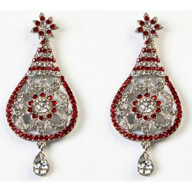 Kriaa Austrian Stone Earrings - Red _ 1302301