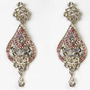 Kriaa Austrian Stone Floral Earrings - Purple _ 1302311