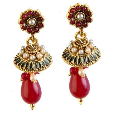 Kriaa Antique Gold Pearl Drop Earrings - Red _ 1301812