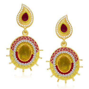 Kriaa Austrian Diamond Gold Plated Earrings   - Red & Yellow _ 1304604