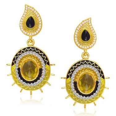 Kriaa Austrian Diamond Gold Plated Earrings - Black & Yellow _ 1304606