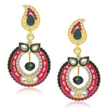 Kriaa Austrian Stone Gold Plated Earrings - Green & Pink _ 1304613