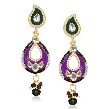 Kriaa Kundan Gold Plated Earrings - Blue & Pink _ 1304628
