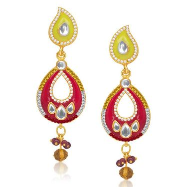 Kriaa Austrian Diamond Kundan Earrings - Yellow & Red _ 1304635