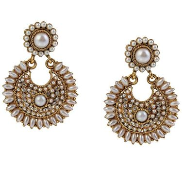 Kriaa Antique Gold Pearl Earrings - White _ 1304926
