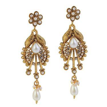 Kriaa Antique Gold Pearl Drop Earrings - White _ 1304930