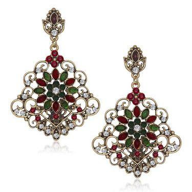 Kriaa Antique Gold Finish Kundan Earrings - Red & Green _ 1305516