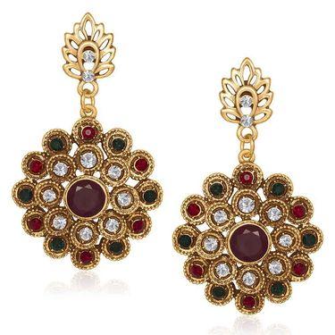 Kriaa Antique Gold Finish Kundan Earrings - Red & Green _ 1305523