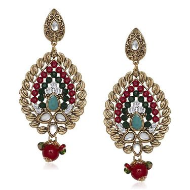 Kriaa Antique Gold Kundan Earrings - Multicolour _ 1305533