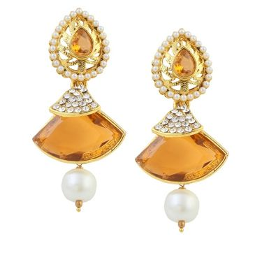 Kriaa Austrian Stone Pearl Gold Finish Dangle Earrings - Brown _ 1305812