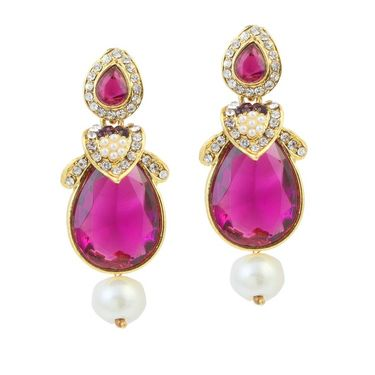 Kriaa Austrian Stone Pearl Gold Finish Dangle Earrings - Purple _ 1305815