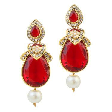 Kriaa Austrian Stone Pearl Gold Finish Dangle Earrings - Red _ 1305818