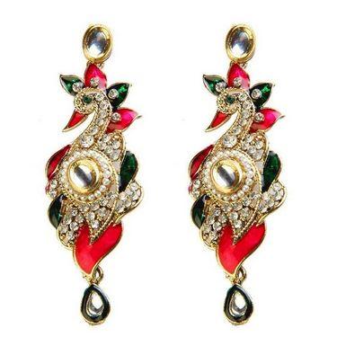 Kriaa Austrian Stone Peacock Design Meenakari Earrings - Pink & Green _ 1300106