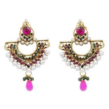 Kriaa Austrian Stone Pearl Earrings  - Pink & Green _ 1300210