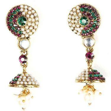 Kriaa Austrian Stone Earrings - Purple & Green _ 1300227