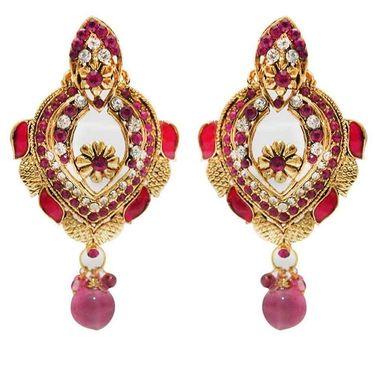 Kriaa Austrian Stone Meenakari Earrings - Pink _ 1300316