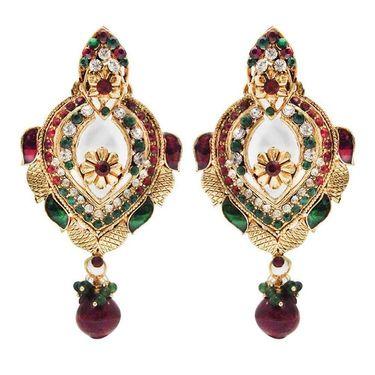 Kriaa Austrian Stone Earrings - Purple & Green _ 1300317
