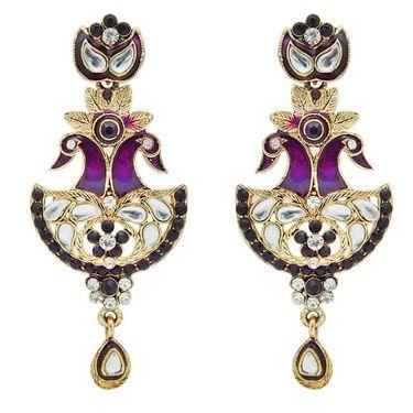 Kriaa Peacock Austrian Stone Earrings - Purple _ 1300318