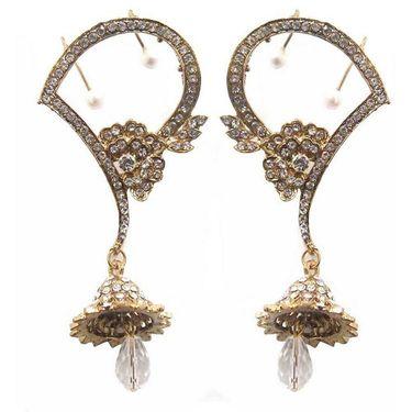 Kriaa Finish Austrian Stone Floral Pearl Earrings - White _ 1300507