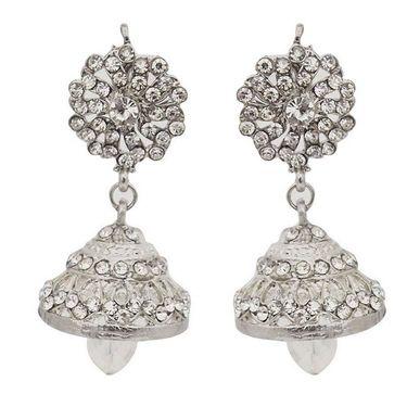 Kriaa Austrian Stone Jhumki Earrings - White _ 1300726