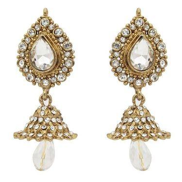 Kriaa Austrian Stone Jhumki Earrings - white _ 1300823