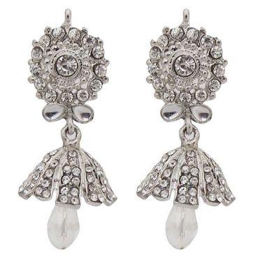 kriaa Kundan Austrian Stone Jhumki Earrings - White _ 1300841