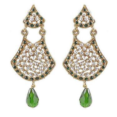 Kriaa Austrian Stone Drop Earrings - Green _ 1300902