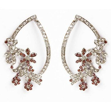 Kriaa Floral Austrian Stone Earrings - Brown _ 1301322
