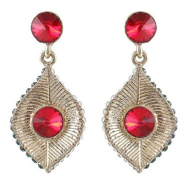 Kriaa Austrian Stone Earrings - Red _ 1301418