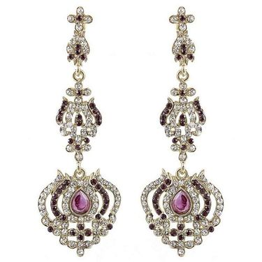 Kriaa Austrian Stone Earrings - Purple _ 1301432