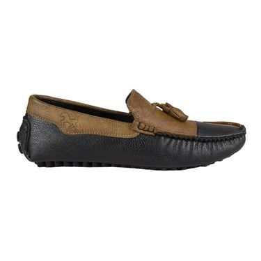 Yellow Tree Synthetic Leather Loafers Shoes Leefox-E619-Black-tan