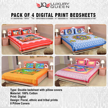 Pack of 4 Digital Print Bedsheets (4DDBS1)