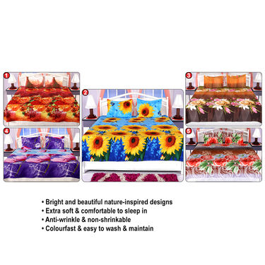 Set of 5 Colorful Floral 3D Bedsheets (5BS11)