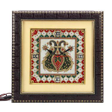 Peacock Motifs painted Marble Wall Clock-MAR15377